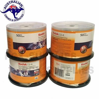 200 pack KODAK CD-R 700MB 52X Branded Blank Recordable Discs Spindle Free Post