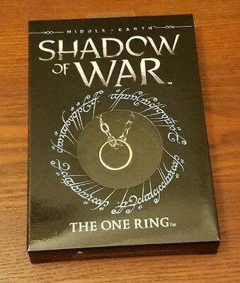 """Middle Earth Shadow of War The One Ring Replica with 24"""" chain LOTR Bilbo/Frodo"""