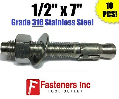 """(QTY 10) 1/2"""" x 7"""" Concrete Wedge Anchor Stainless Steel GRADE 316 1/2-13"""