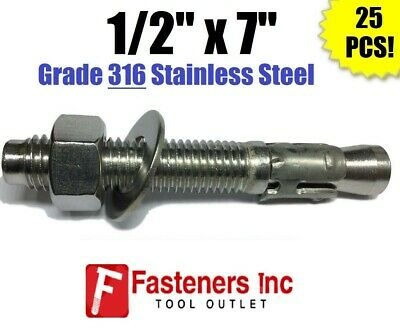 """(QTY 25) 1/2"""" x 7"""" Concrete Wedge Anchor Stainless Steel GRADE 316 1/2-13"""