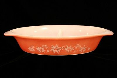 Vintage Retro Pyrex Agee Flannel Flowers - Pink - Oval Divided Dish 1960s GVC