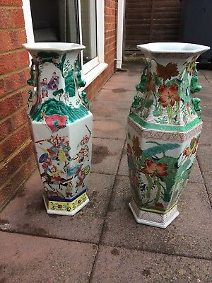 Two 24 Tall Vasesjars Ornamental Chinese Style Heavy Porcelain