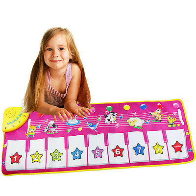 Touch Play Keyboard Musical Music Singing Gym Carpet Mat Best Kids Gift Pink A