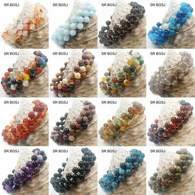 6mm Round Natural Woven Smooth Gemstone Beads Handmade Stretch Bracelet 7""