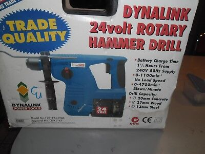DYNALINK   3 MODE  24V Cordless ROTARY HAMMER DRILL  & Accessories  -  NEW