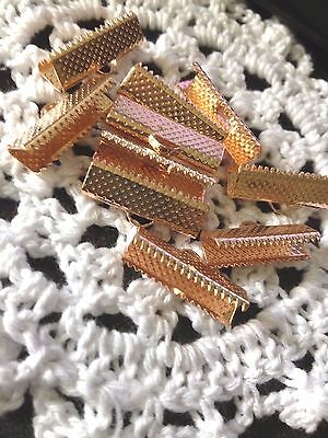 Rose Gold Necklace Ribbon Leather end Cord end 20mm Ribbon Crimp 10Pk Aus seller