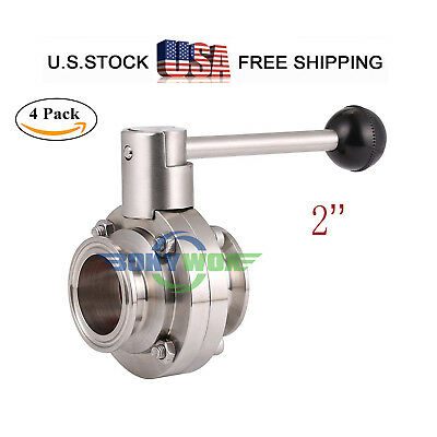 "2 "" 64mm Sanitary Grade 304 SUS Tri-Clamp Butterfly Valve Food Grade 4pack"