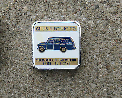 Original  1940s 1950s Gill's Electric Co Advertising Tape Measure Oakland Ca