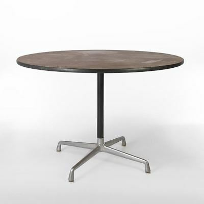 Walnut Herman Miller Original Eames Round Universal Base Contract Table
