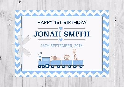 PERSONALISED Birthday Guest Book, Keep Sake, Game, Blue, Train, 1st Birthday