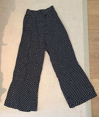 Vintage Polka Dot Palazzo/ Wide Leg/ Flared  Trousers 12/14 - Festival/Retro