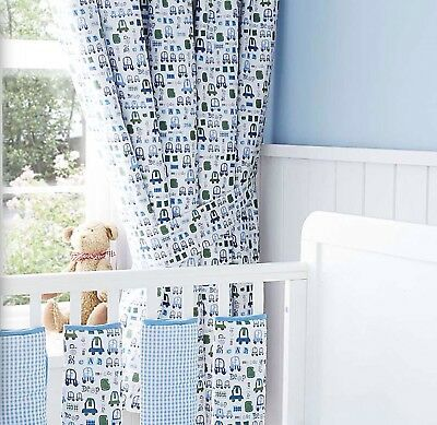 Nursery Novel Car Blackout Lined Curtains Boys Blue Green White Tie Backs 66x54