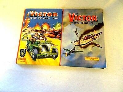 Two vintage copies of The Victor Book for Boys, 1971 and 1972
