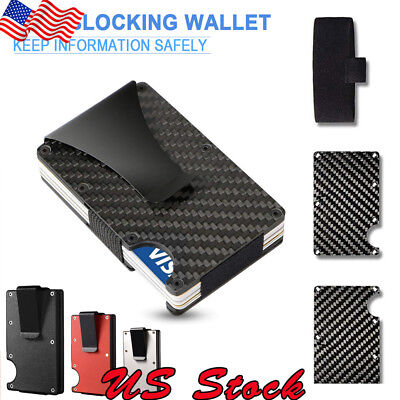 Slim Carbon Fiber ID Credit Card Holder Blocking Metal Wallet Money Clip Purse