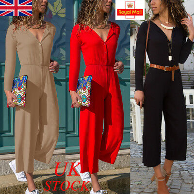 UK Womens Long Sleeve Wide Leg Casual Jumpsuit Playsuit Party Holiday Top Pants