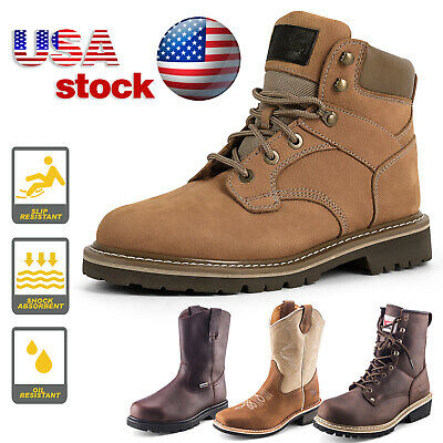 Mens Work Boots Safety Shoes Steel Toe Cap Lace up Non-Slip Anti-oil Waterproof