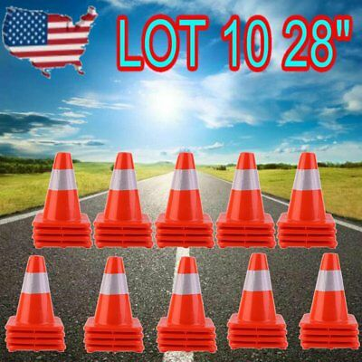 "LOT 10 FG 28"" Reflective Wide Body Safety Cones Construction Traffic Sports"