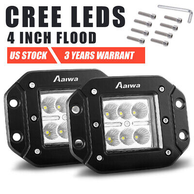 2x 30W 4 inch CREE LED Work Light Pods Flood Flush Mount Reverse Lamp Truck 5""