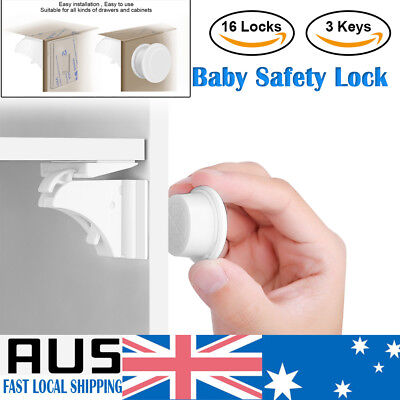 16X Invisible Magnetic Baby Child Pet Proof Cupboard Door Drawer Safety Lock Key