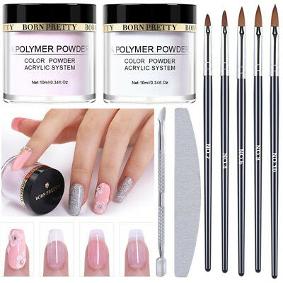 BORN PRETTY Acrylic Powder Kit Nail Art Carving Pen Brush Cuticle Pusher Files