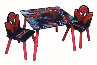 Spiderman Children's Wooden Table And Two Chair Playroom / Bedroom Furniture Set
