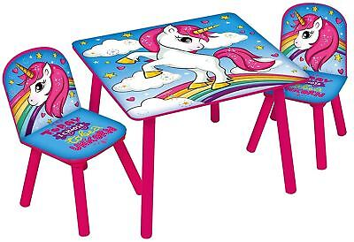 Unicorn Table & Chairs Set - Kids Wooden Indoor Childrens Toddlers Furniture