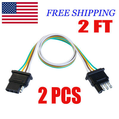2X 4-PIN PLUG Trailer Light Wiring Harness Extension Flat Wire ... on 4 pin spark plugs, 4 pin power supply, 4 pin ignition module, 4 pin light bulbs,