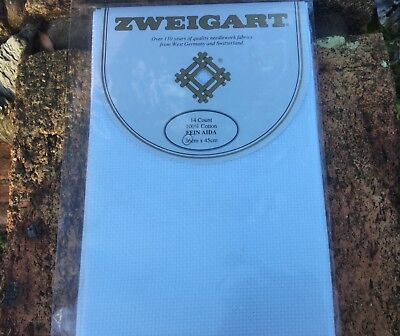 Zweigart 14 count cotton Aida embroidery fabric 36 x 45cm x White