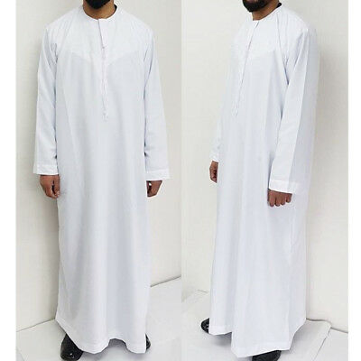 Mens Saudi Style White Arab Robe Jubba Thobe Omani Dishdash Islamic Clothing