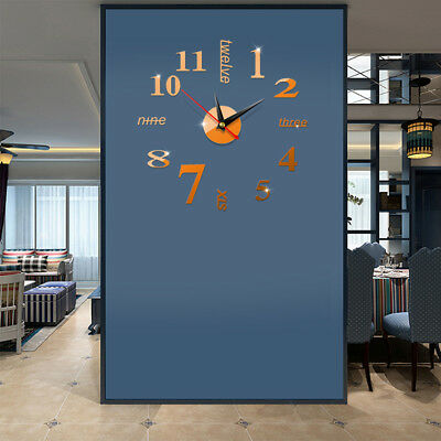 DIY Small/ Large Number Wall Clock 3D Mirror Surface Sticker Modern Home Decor
