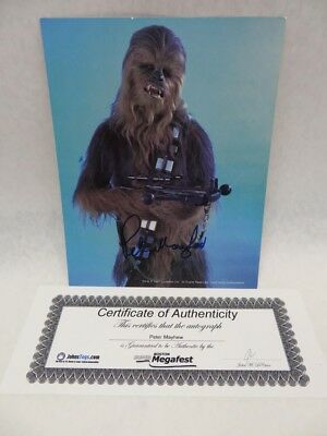 Peter Mayhew COA Autographed Picture Chewbaca Star Wars