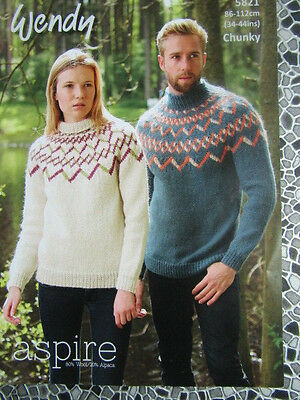 Ladies Mans Chunky Fair Isle Yolked Sweaters Knitting Pattern Size