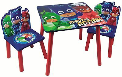 PJ Masks Table & Chairs Set - Wooden Kids Childrens Nursery Playroom Furniture