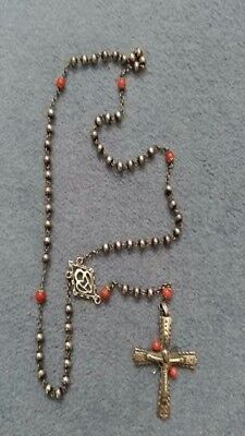 Silver And Coral  Rosary Beads