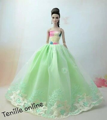 New Barbie dress clothes outfit princess wedding gown green lace