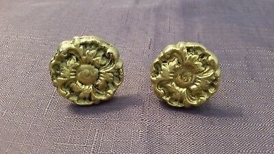 Vintage Heirloom Brass Co. Solid Brass Flower Drawer Cabinet Knob Set of 2 Large