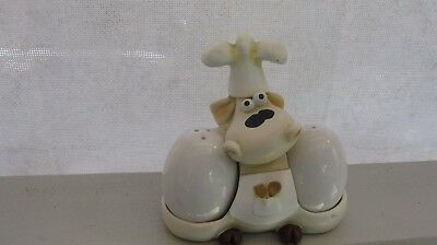The cutest Cow Chef Salt and Pepper Set (Collectable) REDUCED