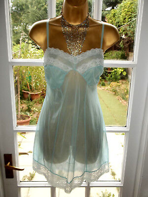 Vintage 1960s Ultra Sheer Slippery Aqua Nylon Lacy Short Mini Slip Petticoat 38""