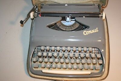 Vintage  CONSUL Manual Portable Typewriter with Case (w) key from Czechoslovakia