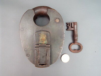 """Large antique brass and iron padlock with key working - T Hickin's WR - 5"""" high"""