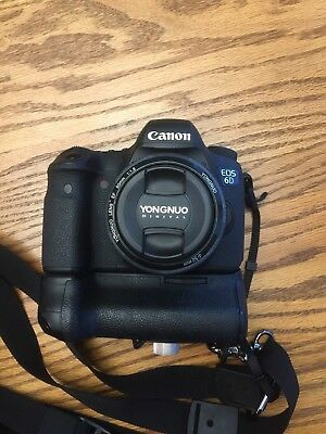 Canon EOS 6D 20.2MP Digital SLR Camera with Battery Grip, 4 Batteries, 50mm F1.8