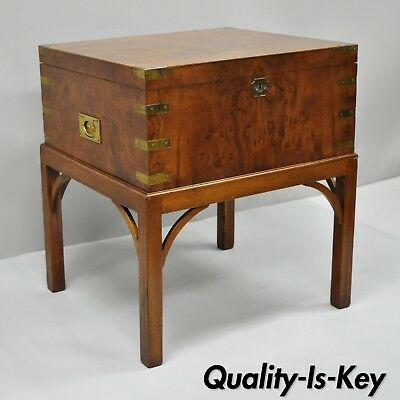 Burl Wood & Brass English Campaign Style Trunk Chest Box on Table Stand