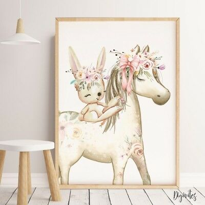 Baby, Girl Nursery Wall Art Prints Watercolour Boho Pony, Horse. Nursery Decor