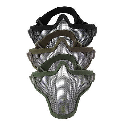 Steel Mesh Half Face Mask Guard Protect For Paintball Airsoft Game Hunting 9PO