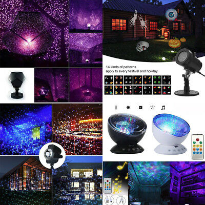Ocean Wave Projector Remote Control 12 LED 7 Colors Night Light Music Player MJ