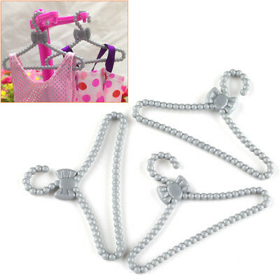 100pcs Mini Gray Coat Dress Clothing Clothes Hangers for Barbie Sindy Ken Dolls