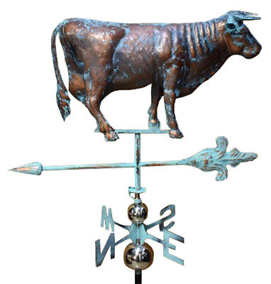 Handcrafted 3 Dimensional Cow Bull  Weathervane Copper Patina Finish