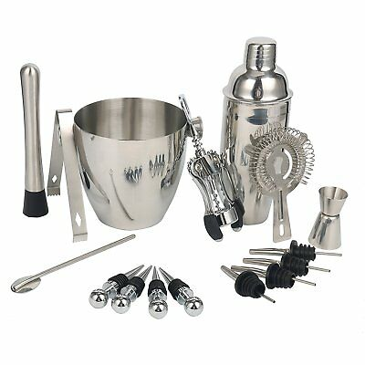 Expert Cocktail Shaker Home Bar Set - 16 Piece Stainless Steel Bar Tools Kit