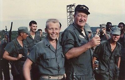 Vietnam War USMC John Wayne Enjoys Cold One With Marines Glossy 8x10 Photo