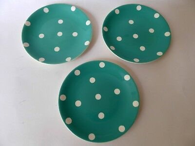 Empire Ware Three Vintage Green White Polka Dot Side Plates